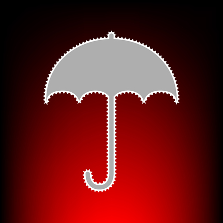 Umbrella sign icon. Rain protection symbol. Flat design style. Postage stamp or old photo style on red-black gradient background.