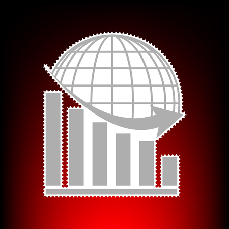 declining: Declining graph with earth. Postage stamp or old photo style on red-black gradient background.