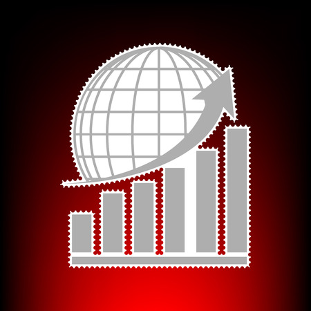 Growing graph with earth. Postage stamp or old photo style on red-black gradient background. Illustration