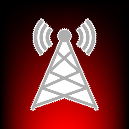 woman cellphone: Antenna sign illustration. Postage stamp or old photo style on red-black gradient background.