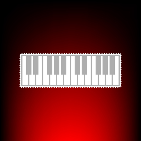 Piano Keyboard sign. Postage stamp or old photo style on red-black gradient background.