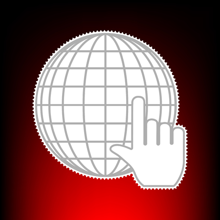 Earth Globe with cursor. Postage stamp or old photo style on red-black gradient background.