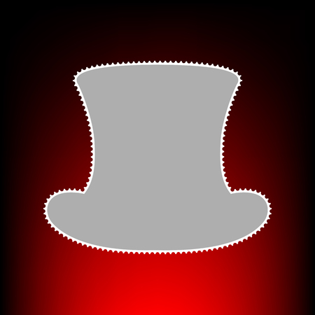 Top hat sign. Postage stamp or old photo style on red-black gradient background. Illustration