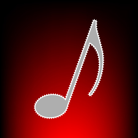 Music note sign. Postage stamp or old photo style on red-black gradient background. Illustration