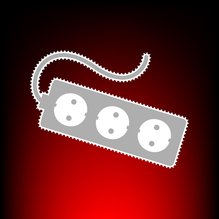 Electric extension plug sign. Postage stamp or old photo style on red-black gradient background.