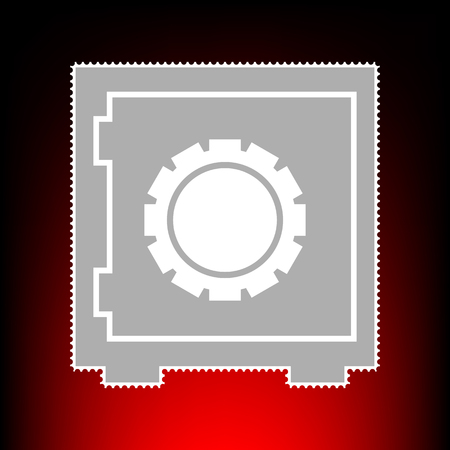 classified: Safe sign illustration. Postage stamp or old photo style on red-black gradient background.