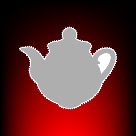 Tea maker Kitchen sign. Postage stamp or old photo style on red-black gradient background. Stock Photo