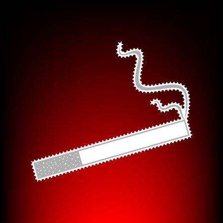 Smoke icon great for any use. Postage stamp or old photo style on red-black gradient background. Illustration