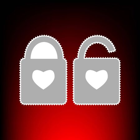 door lock love: lock sign with heart shape. A simple silhouette of the lock. Shape of a heart. Postage stamp or old photo style on red-black gradient background. Stock Photo