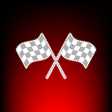 Crossed checkered flags logo waving in the wind conceptual of motor sport. Postage stamp or old photo style on red-black gradient background.