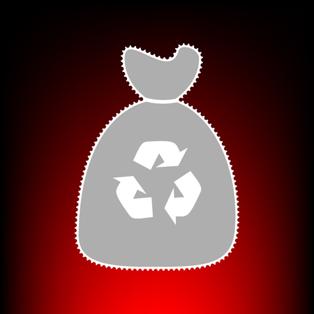 Trash bag icon. Postage stamp or old photo style on red-black gradient background.