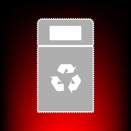 trashing: Trashcan sign illustration. Postage stamp or old photo style on red-black gradient background.