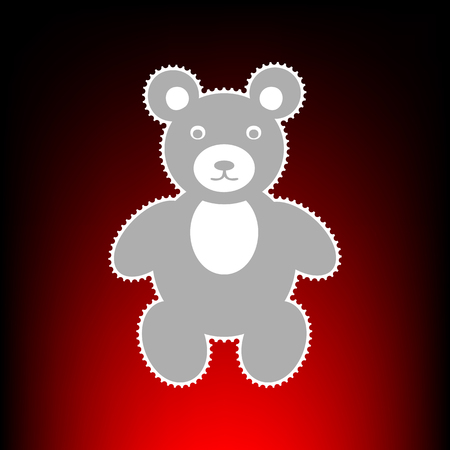 Teddy bear sign illustration. Postage stamp or old photo style on red-black gradient background.