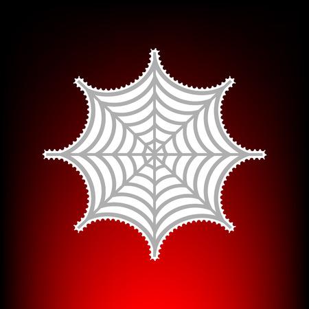 Spider op web illustratie. Postzegel of oude foto stijl op rood-zwarte gradiënt achtergrond.