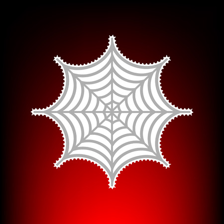 Spider on web illustration. Postage stamp or old photo style on red-black gradient background.
