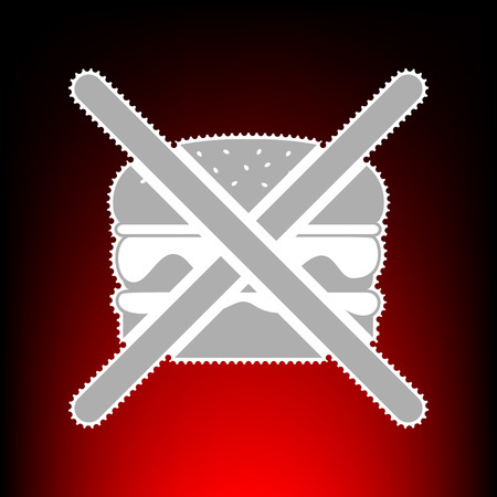 No burger sign. Postage stamp or old photo style on red-black gradient background. Illustration