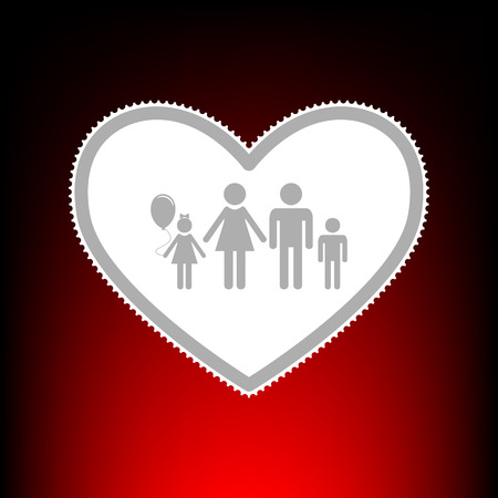 Family sign illustration in heart shape. Postage stamp or old photo style on red-black gradient background. Stock Photo
