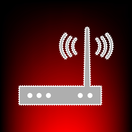 public domain: Wifi modem sign. Postage stamp or old photo style on red-black gradient background.