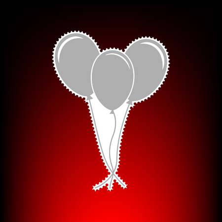 Balloons set sign. Postage stamp or old photo style on red-black gradient background. Illustration