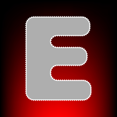 Letter E sign design template element. Postage stamp or old photo style on red-black gradient background.