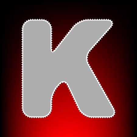 Letter K sign design template element. Postage stamp or old photo style on red-black gradient background.