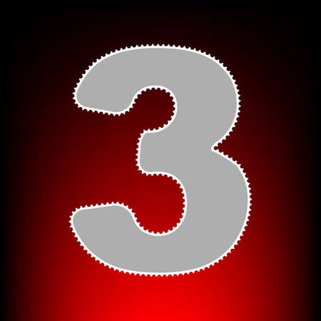 Number 3 sign design template element. Postage stamp or old photo style on red-black gradient background.