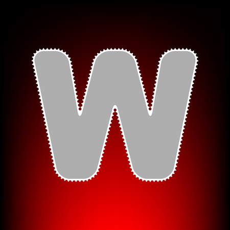 Letter W sign design template element. Postage stamp or old photo style on red-black gradient background.