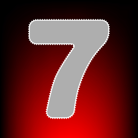 Number 7 sign design template element. Postage stamp or old photo style on red-black gradient background.
