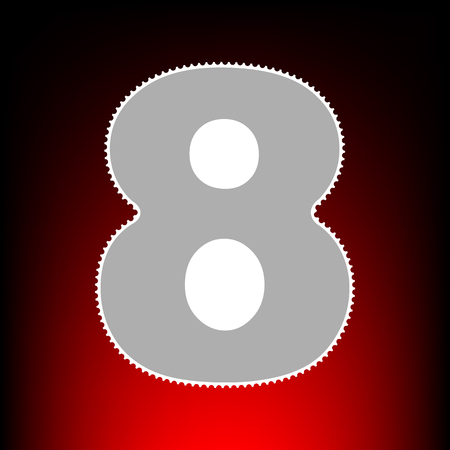 Number 8 sign design template element. Postage stamp or old photo style on red-black gradient background.