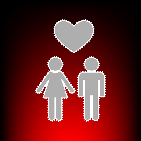 Family symbol with heart. Husband and wife are kept each other`s hands. Love. Postage stamp or old photo style on red-black gradient background. Illustration