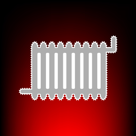 Radiator sign. Postage stamp or old photo style on red-black gradient background.