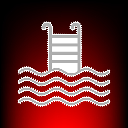 Swimming Pool sign. Postage stamp or old photo style on red-black gradient background. Illustration