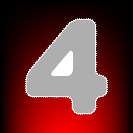 Number 4 sign design template element. Postage stamp or old photo style on red-black gradient background.