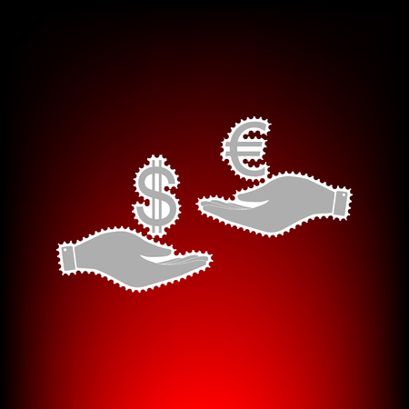Currency exchange from hand to hand. Dollar adn Euro. Postage stamp or old photo style on red-black gradient background.