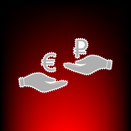 Currency exchange from hand to hand. Euro and Rouble. Postage stamp or old photo style on red-black gradient background.