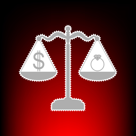Ring jewelery and dollar symbol on scales. Postage stamp or old photo style on red-black gradient background.