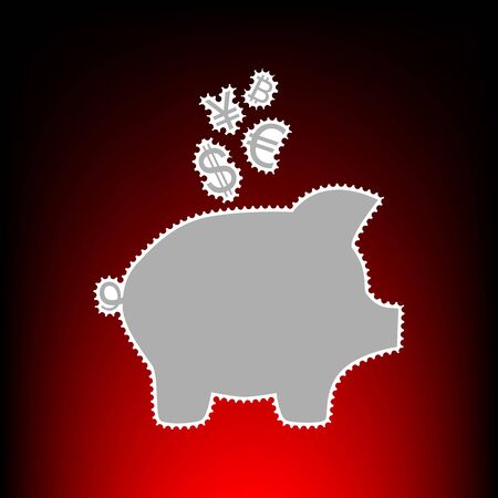 art processing: Piggy bank sign with the currencies. Postage stamp or old photo style on red-black gradient background.