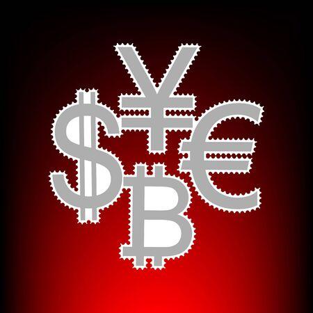 Währungszeichen-Sammlungsdollar, Euro, Bitcoin, Yen. Briefmarke oder alte Fotostil auf rot-schwarzem Steigungshintergrund.