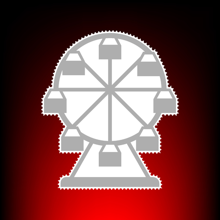 Ferris wheel sign. Postage stamp or old photo style on red-black gradient background. Illustration