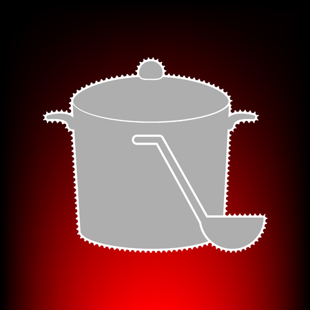 Pan with steam sign. Postage stamp or old photo style on red-black gradient background.