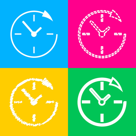 Service and support for customers around the clock and 24 hours. Four styles of icon on four color squares.