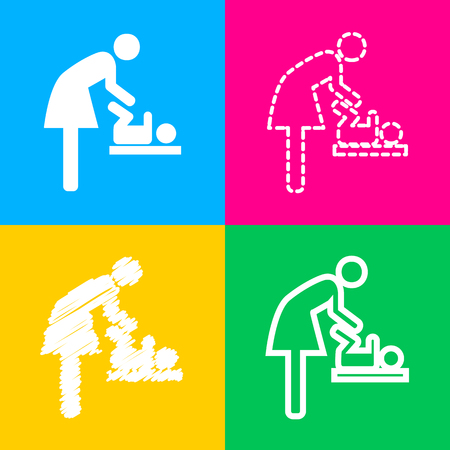 Symbol for women and baby, baby changing. Four styles of icon on four color squares.