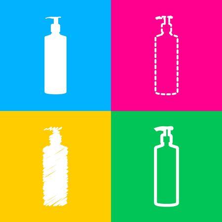Gel, espuma o jabón líquido. Dispensador bomba botella de plástico silueta. Cuatro estilos de icono en cuatro cuadrados de color. Vectores