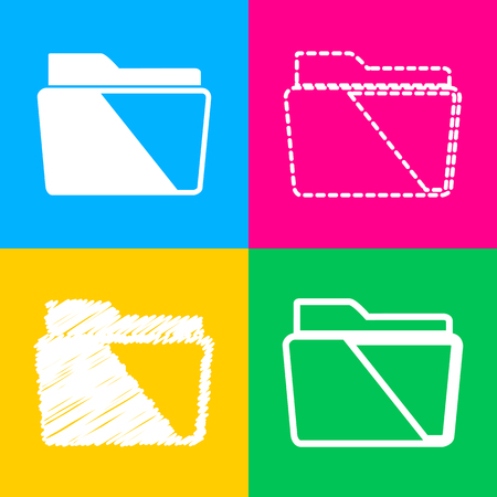 directory: Folder sign illustration. Four styles of icon on four color squares. Illustration