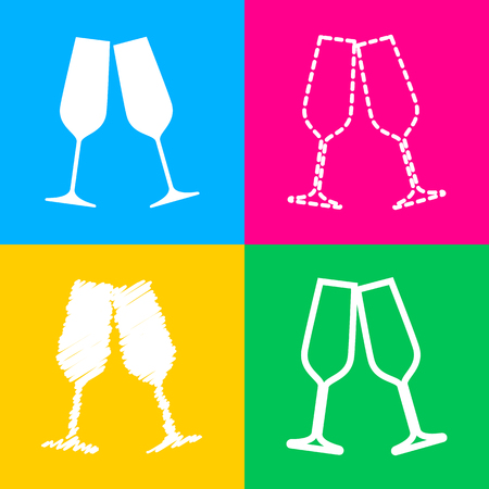 Sparkling champagne glasses. Four styles of icon on four color squares.