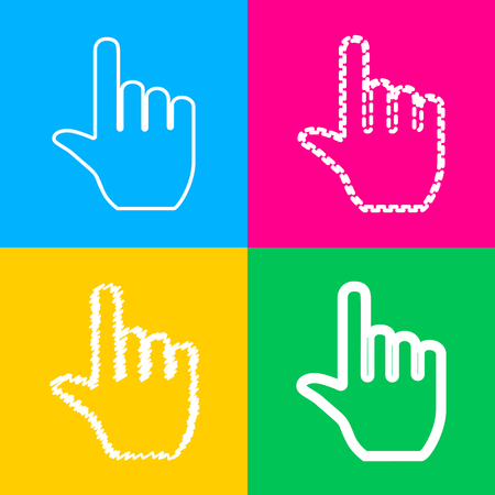 Hand sign illustration. Four styles of icon on four color squares.