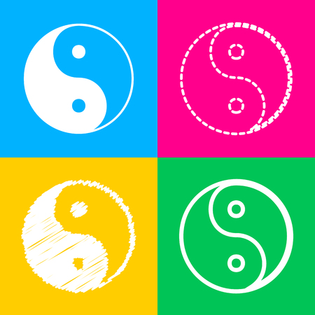 yinyang: Ying yang symbol of harmony and balance. Four styles of icon on four color squares.