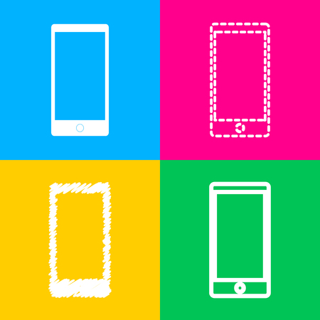 Abstract style modern gadget with blank screen. Template for any content. Four styles of icon on four color squares.