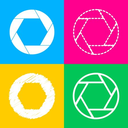 Photo sign illustration. Four styles of icon on four color squares.