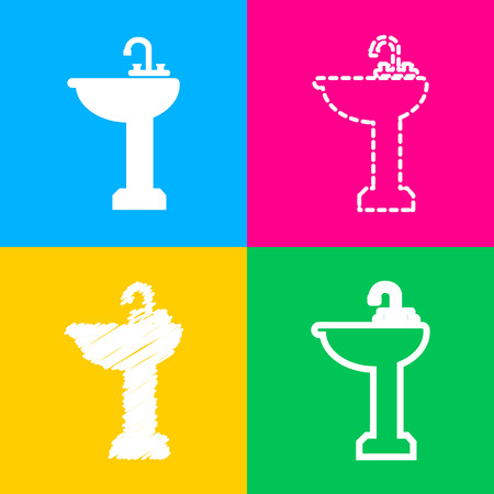 Bathroom sink sign. Four styles of icon on four color squares. Illustration